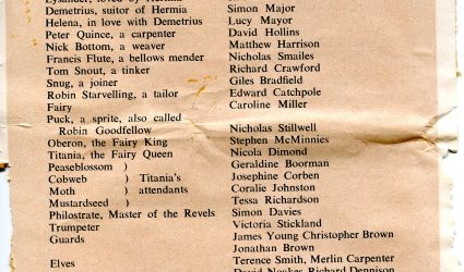 Cast list for the play A Midsummer Night's Dream