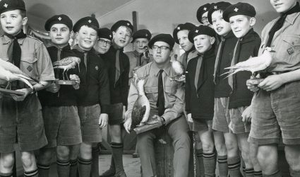 Dulwich Prep Scouts with their Scout leader