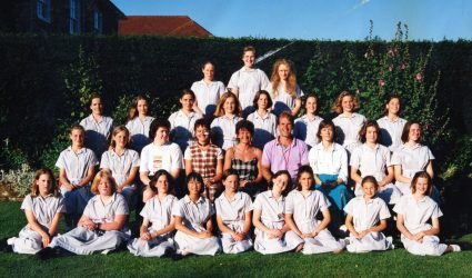 Girls Boarding Photo on the Lawn 1995