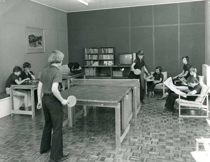 Playing table tennis in Lodge Boarding House