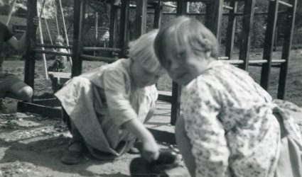 Two Children playing near the playground at Little Stream
