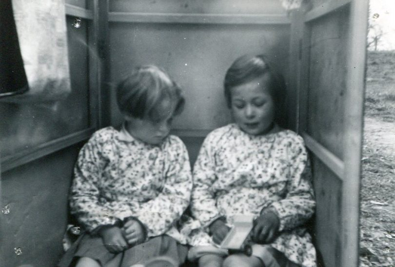Two girls in a box at Little Stream