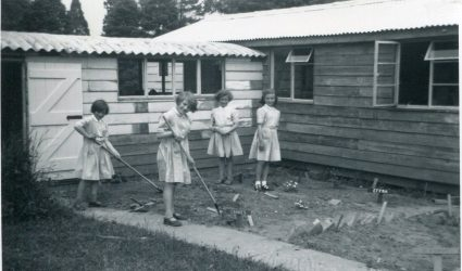 Girls gardening at Little Stream