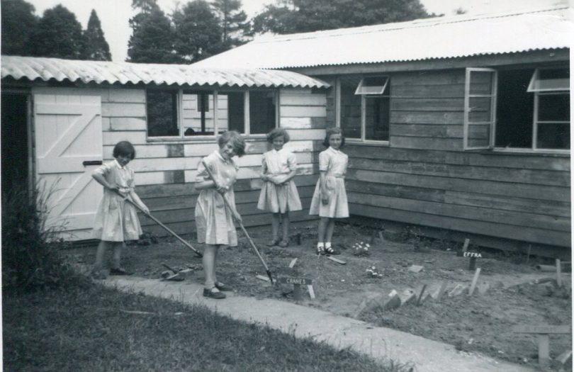 Girls gardening at Little Stream