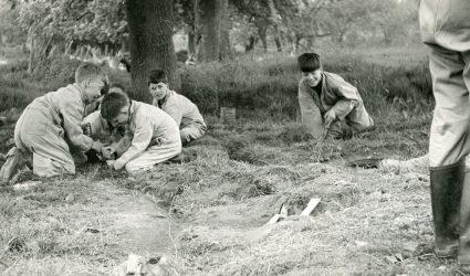 Boys digging in the Woods
