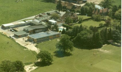 Aerial view of Upper School 1970s