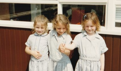 Three Reception Girls in the Playground