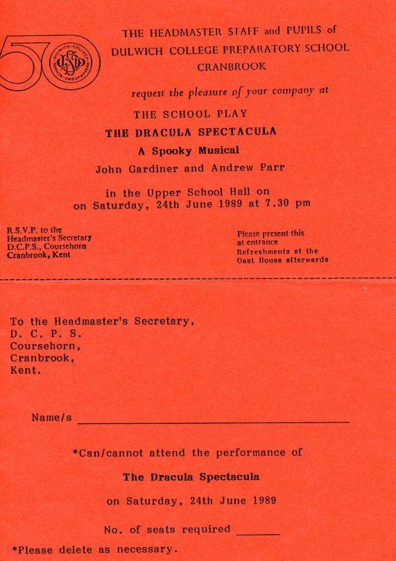 The Dracula Spectacula Play Invitation | School