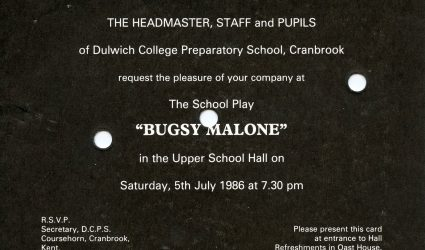 Bugsy Malone Invitation 1986