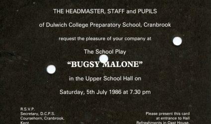 Bugsy Malone Invitation 1986